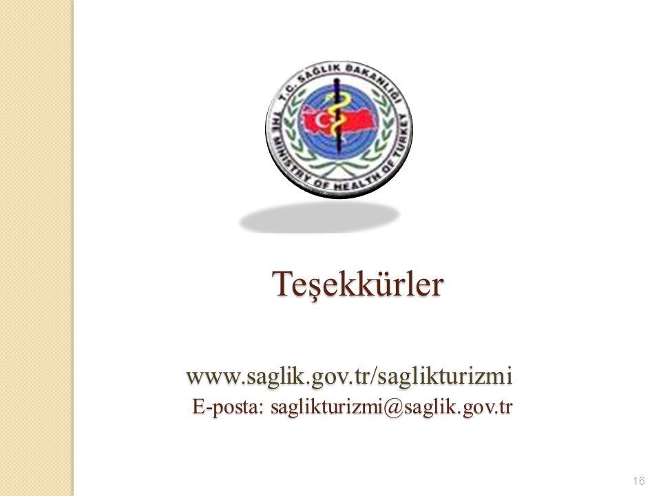 16 Teşekkürler www.saglik.gov.tr/saglikturizmi E-posta: saglikturizmi@saglik.gov.tr Teşekkürler www.saglik.gov.tr/saglikturizmi E-posta: saglikturizmi