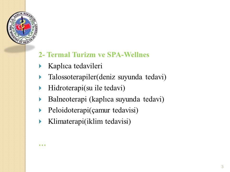 3 2- Termal Turizm ve SPA-Wellnes  Kaplıca tedavileri  Talossoterapiler(deniz suyunda tedavi)  Hidroterapi(su ile tedavi)  Balneoterapi (kaplıca s