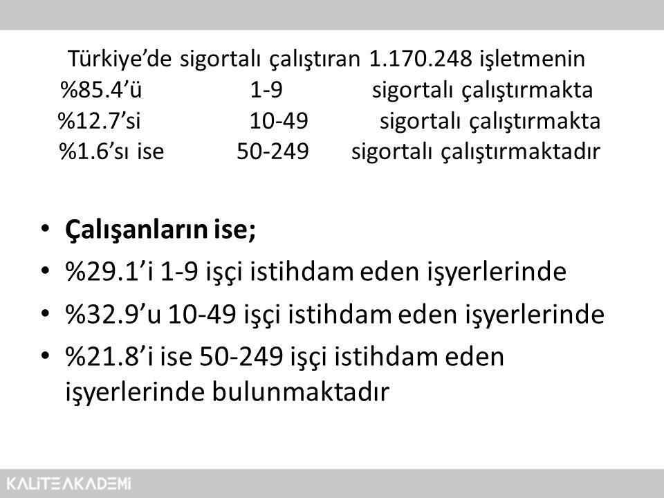 Türkiye'de sigortalı çalıştıran 1.170.248 işletmenin %85.4'ü 1-9 sigortalı çalıştırmakta %12.7'si 10-49 sigortalı çalıştırmakta %1.6'sı ise 50-249 sig