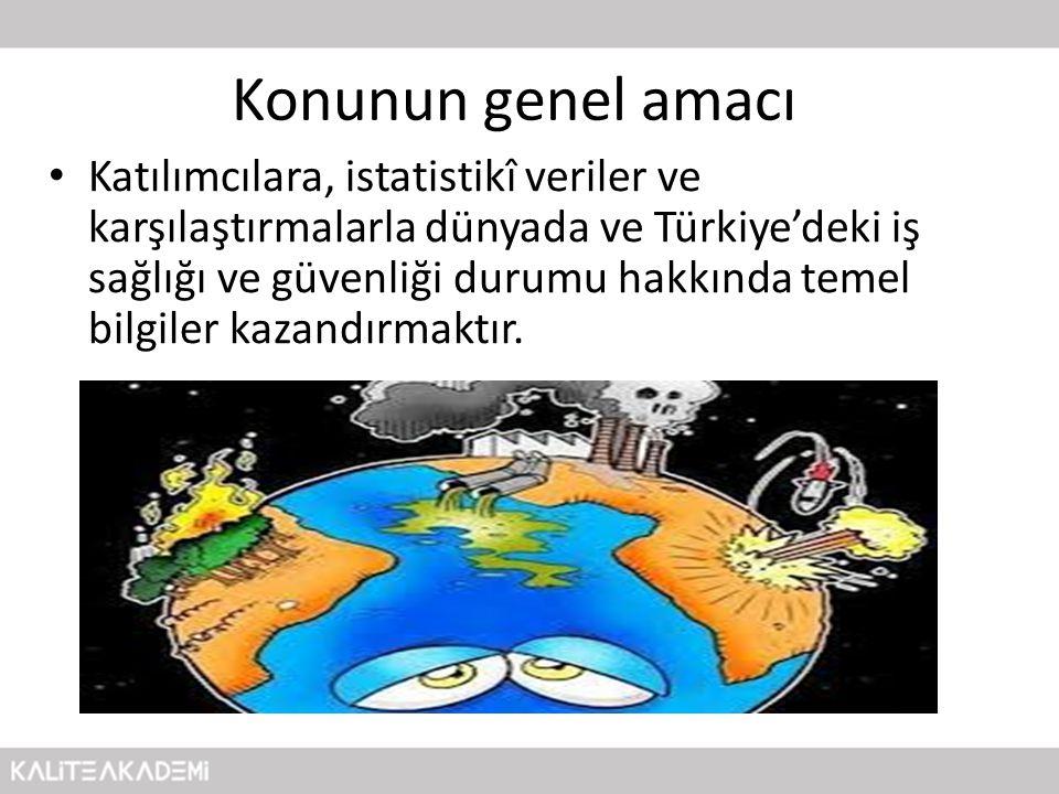 Konunun genel amacı • Katılımcılara, istatistikî veriler ve karşılaştırmalarla dünyada ve Türkiye'deki iş sağlığı ve güvenliği durumu hakkında temel b
