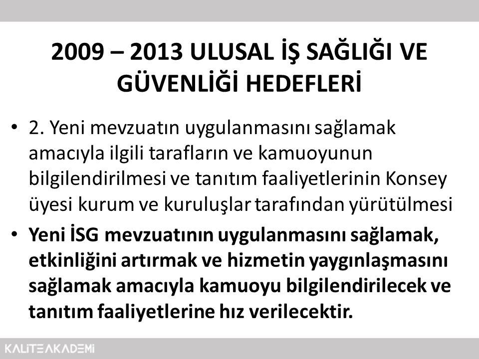 2009 – 2013 ULUSAL İŞ SAĞLIĞI VE GÜVENLİĞİ HEDEFLERİ • 2. Yeni mevzuatın uygulanmasını sağlamak amacıyla ilgili tarafların ve kamuoyunun bilgilendiril