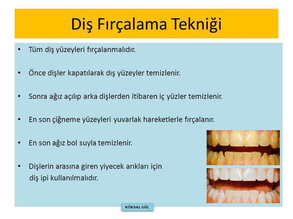 Diş Fırçalama Tekniği • Tüm diş yüzeyleri fırçalanmalıdır. • Önce dişler kapatılarak dış yüzeyler temizlenir. • Sonra ağız açılıp arka dişlerden itiba