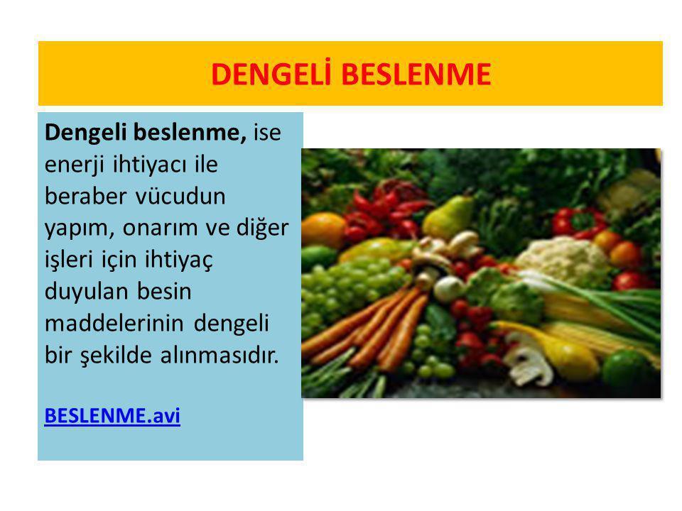 Dengeli beslenme, ise enerji ihtiyacı ile beraber vücudun yapım, onarım ve diğer işleri için ihtiyaç duyulan besin maddelerinin dengeli bir şekilde al