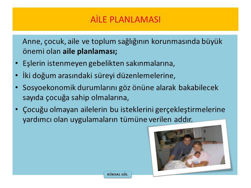 Anne, çocuk, aile ve toplum sağlığının korunmasında büyük önemi olan aile planlaması; • Eşlerin istenmeyen gebelikten sakınmalarına, • İki doğum arası
