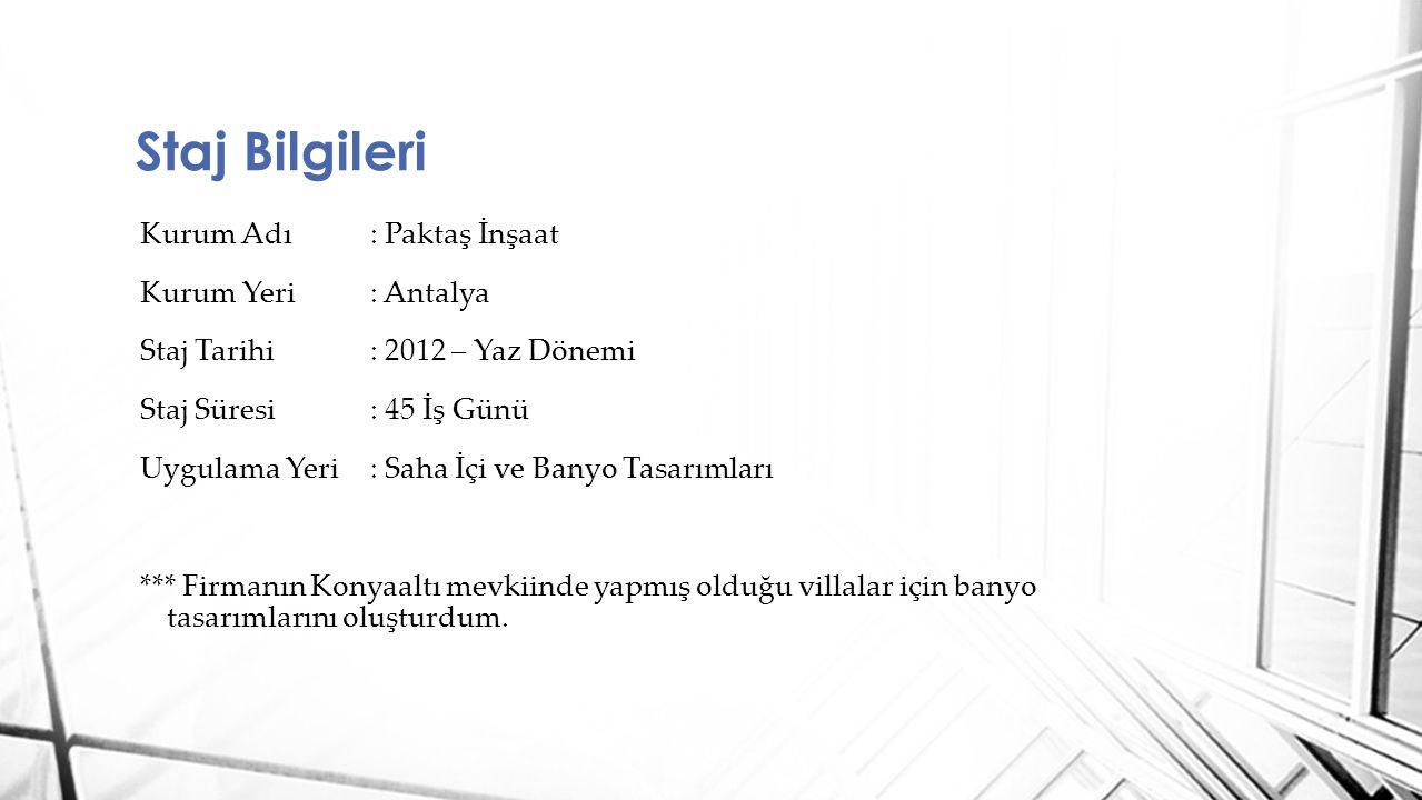 Kurum Adı : Paktaş İnşaat Kurum Yeri : Antalya Staj Tarihi : 2012 – Yaz Dönemi Staj Süresi : 45 İş Günü Uygulama Yeri : Saha İçi ve Banyo Tasarımları