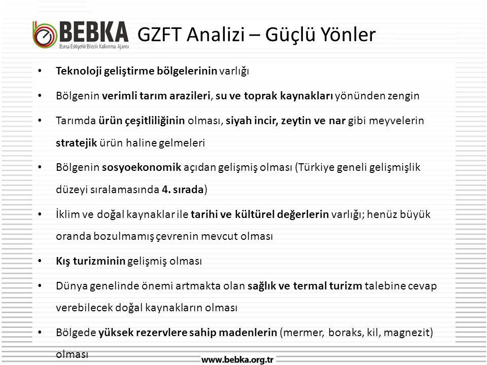 GZFT Analizi – Güçlü Yönler • Teknoloji geliştirme bölgelerinin varlığı • Bölgenin verimli tarım arazileri, su ve toprak kaynakları yönünden zengin • Tarımda ürün çeşitliliğinin olması, siyah incir, zeytin ve nar gibi meyvelerin stratejik ürün haline gelmeleri • Bölgenin sosyoekonomik açıdan gelişmiş olması (Türkiye geneli gelişmişlik düzeyi sıralamasında 4.