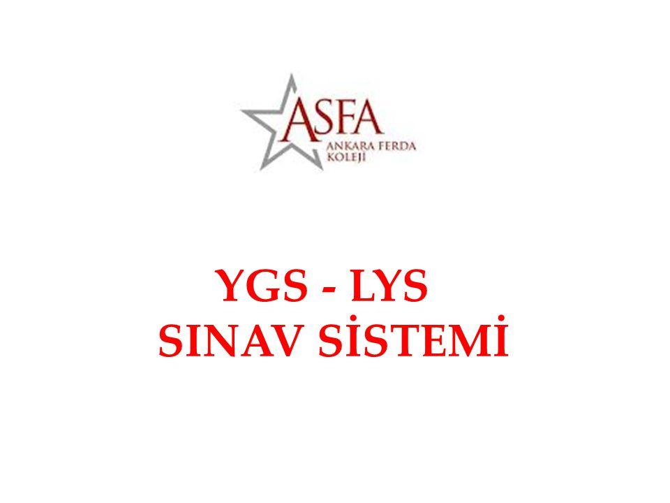 GENEL BİLGİLER • YGS - LYS 2 aşamadan oluşan bir sınav sistemidir.