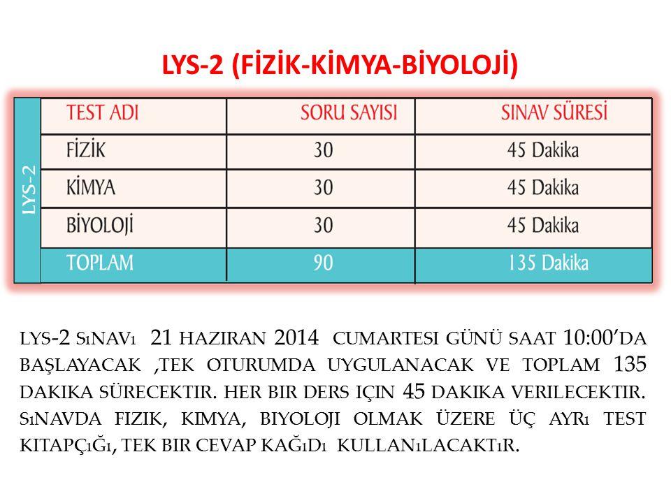 LYS-2 (FİZİK-KİMYA-BİYOLOJİ) LYS -2 SıNAVı 21 HAZIRAN 2014 CUMARTESI GÜNÜ SAAT 10:00' DA BAŞLAYACAK, TEK OTURUMDA UYGULANACAK VE TOPLAM 135 DAKIKA SÜR
