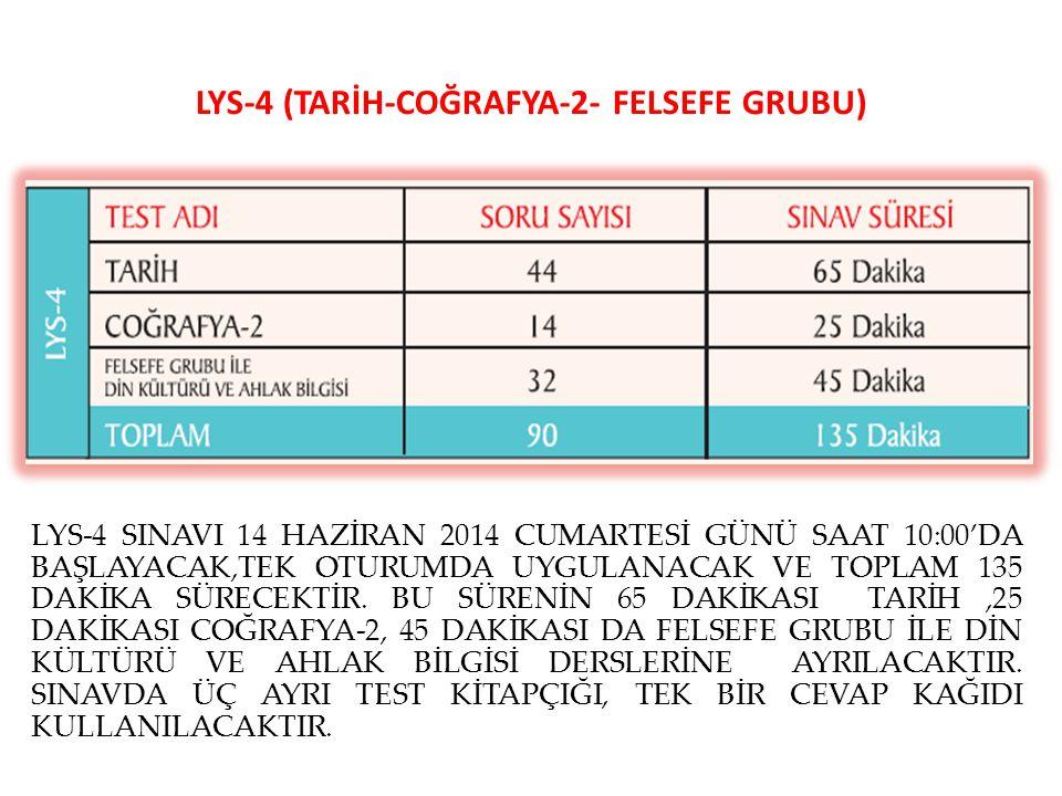 LYS-4 (TARİH-COĞRAFYA-2- FELSEFE GRUBU) LYS-4 SINAVI 14 HAZİRAN 2014 CUMARTESİ GÜNÜ SAAT 10:00'DA BAŞLAYACAK,TEK OTURUMDA UYGULANACAK VE TOPLAM 135 DA
