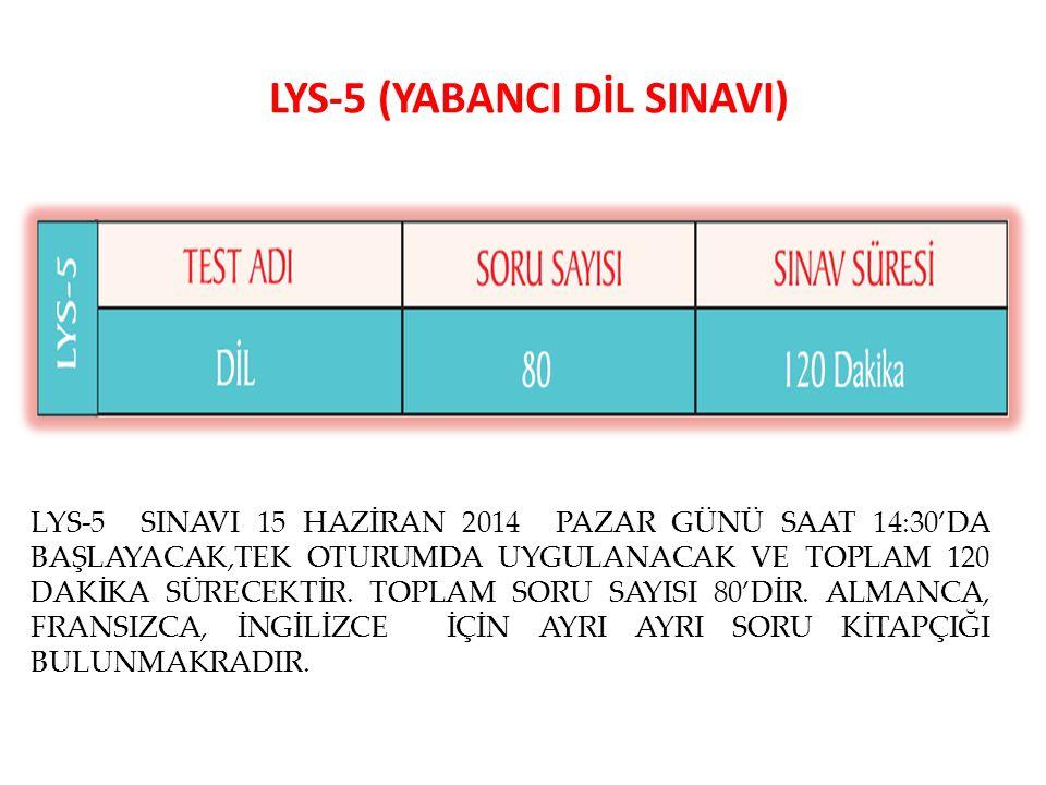 LYS-5 (YABANCI DİL SINAVI) LYS-5 SINAVI 15 HAZİRAN 2014 PAZAR GÜNÜ SAAT 14:30'DA BAŞLAYACAK,TEK OTURUMDA UYGULANACAK VE TOPLAM 120 DAKİKA SÜRECEKTİR.