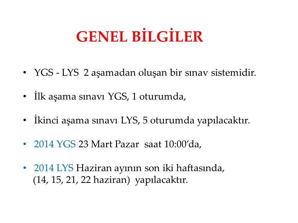 GENEL BİLGİLER • YGS - LYS 2 aşamadan oluşan bir sınav sistemidir. • İlk aşama sınavı YGS, 1 oturumda, • İkinci aşama sınavı LYS, 5 oturumda yapılacak