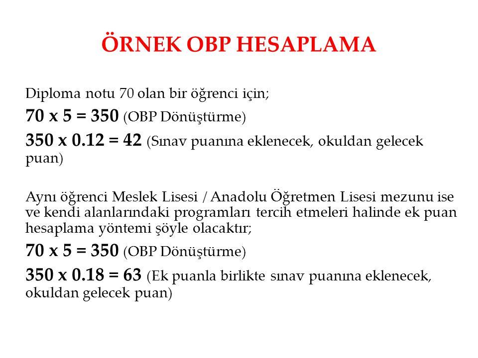 ÖRNEK OBP HESAPLAMA Diploma notu 70 olan bir öğrenci için; 70 x 5 = 350 (OBP Dönüştürme) 350 x 0.12 = 42 (Sınav puanına eklenecek, okuldan gelecek pua