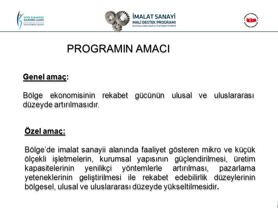 PROGRAMIN AMACI Genel amaç: Bölge ekonomisinin rekabet gücünün ulusal ve uluslararası düzeyde artırılmasıdır. Genel amaç: Bölge ekonomisinin rekabet g
