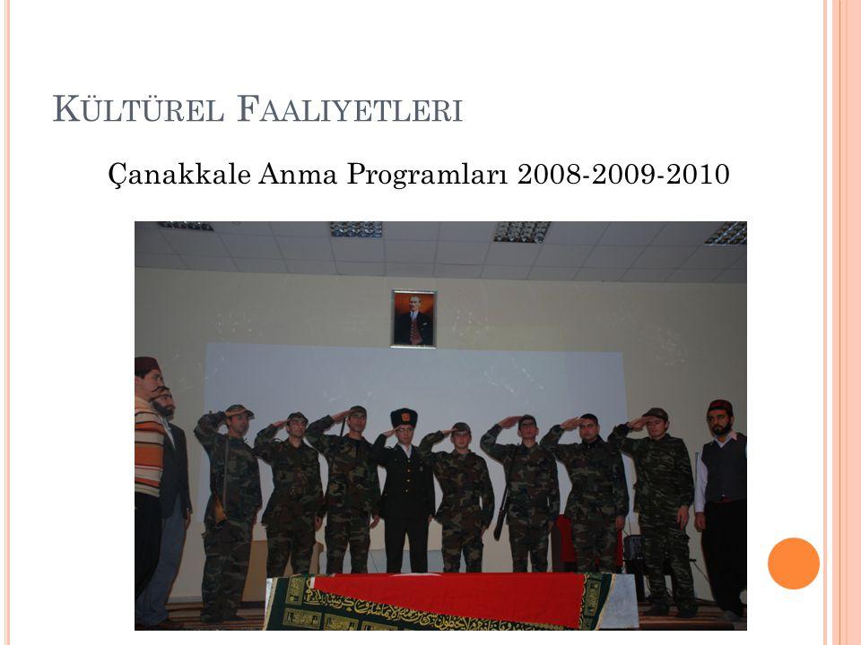 K ÜLTÜREL F AALIYETLERI Çanakkale Anma Programları 2008-2009-2010