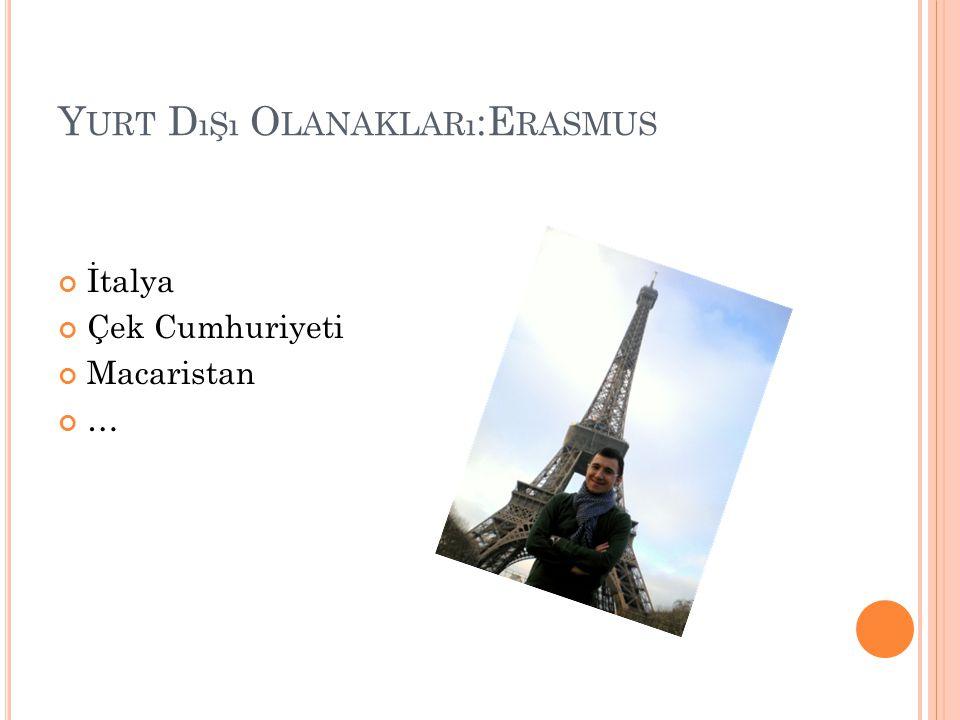Y URT D ıŞı O LANAKLARı :E RASMUS İtalya Çek Cumhuriyeti Macaristan …