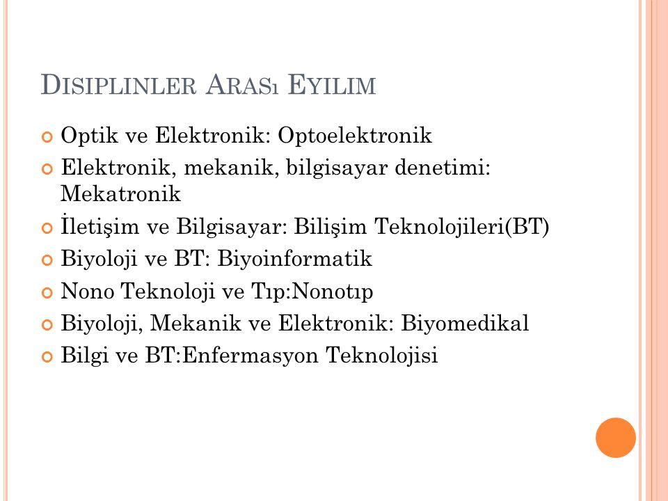 D ISIPLINLER A RASı E YILIM Optik ve Elektronik: Optoelektronik Elektronik, mekanik, bilgisayar denetimi: Mekatronik İletişim ve Bilgisayar: Bilişim T