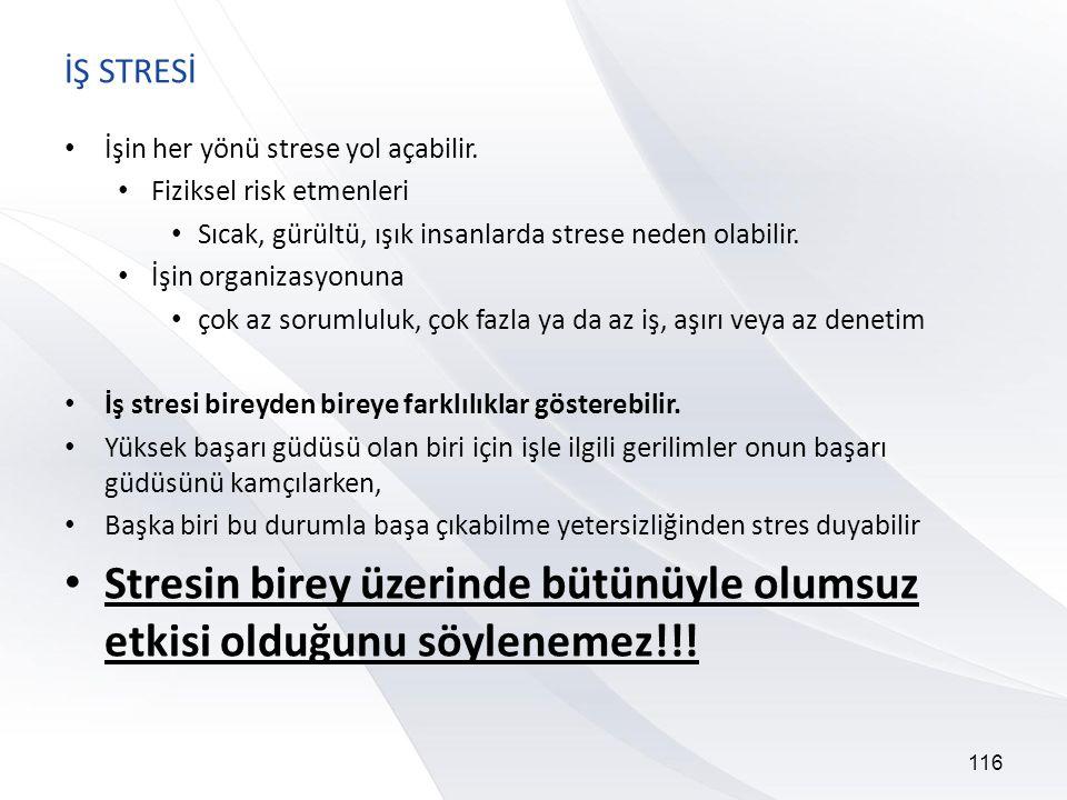 116 İŞ STRESİ • İşin her yönü strese yol açabilir.
