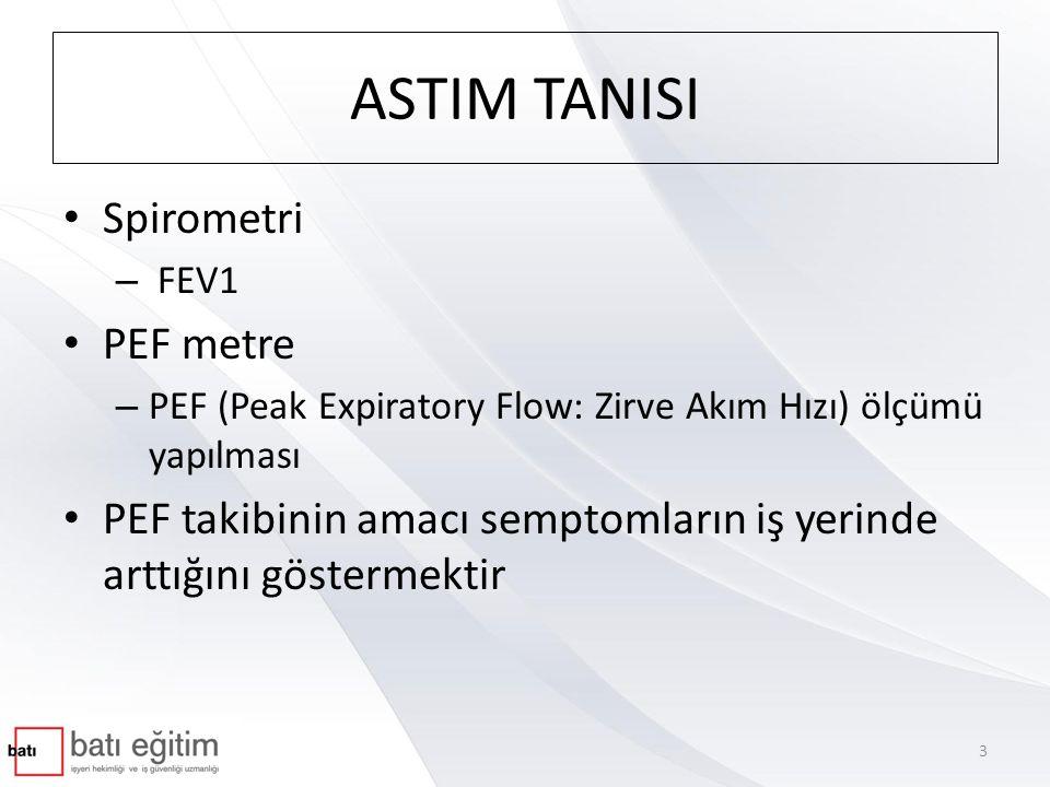 ASTIM TANISI • Spirometri – FEV1 • PEF metre – PEF (Peak Expiratory Flow: Zirve Akım Hızı) ölçümü yapılması • PEF takibinin amacı semptomların iş yerinde arttığını göstermektir 3