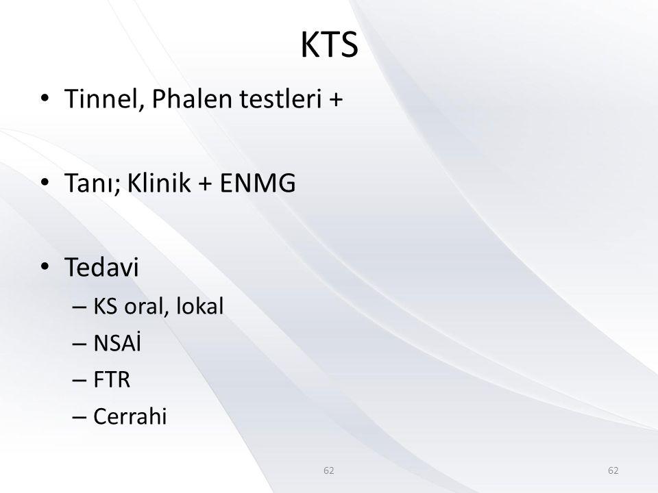 62 KTS • Tinnel, Phalen testleri + • Tanı; Klinik + ENMG • Tedavi – KS oral, lokal – NSAİ – FTR – Cerrahi 62