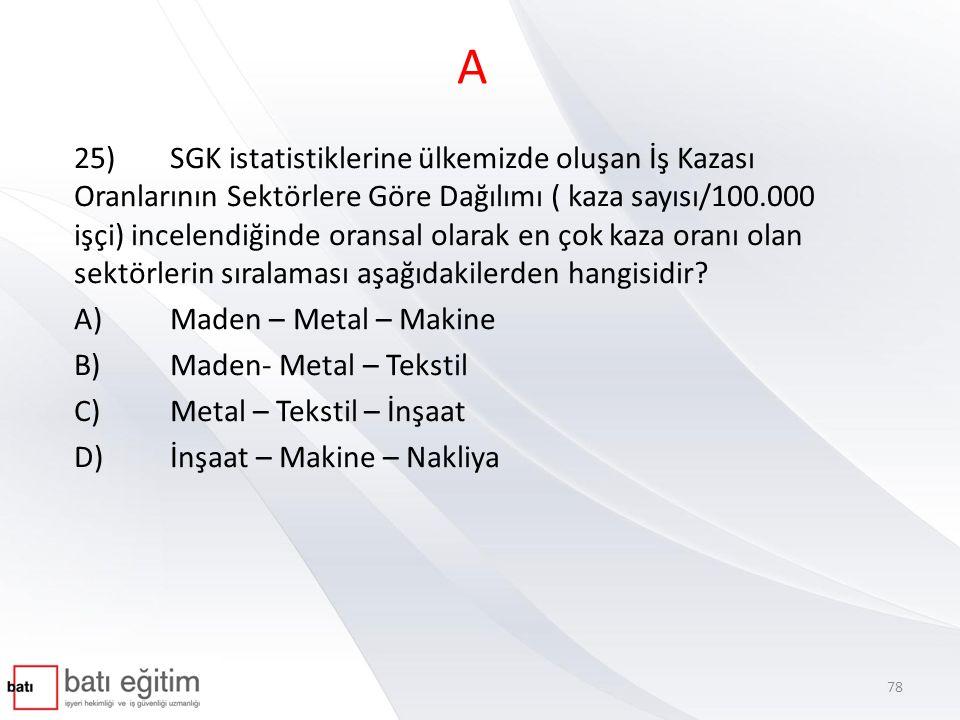 A 25)SGK istatistiklerine ülkemizde oluşan İş Kazası Oranlarının Sektörlere Göre Dağılımı ( kaza sayısı/100.000 işçi) incelendiğinde oransal olarak en çok kaza oranı olan sektörlerin sıralaması aşağıdakilerden hangisidir.