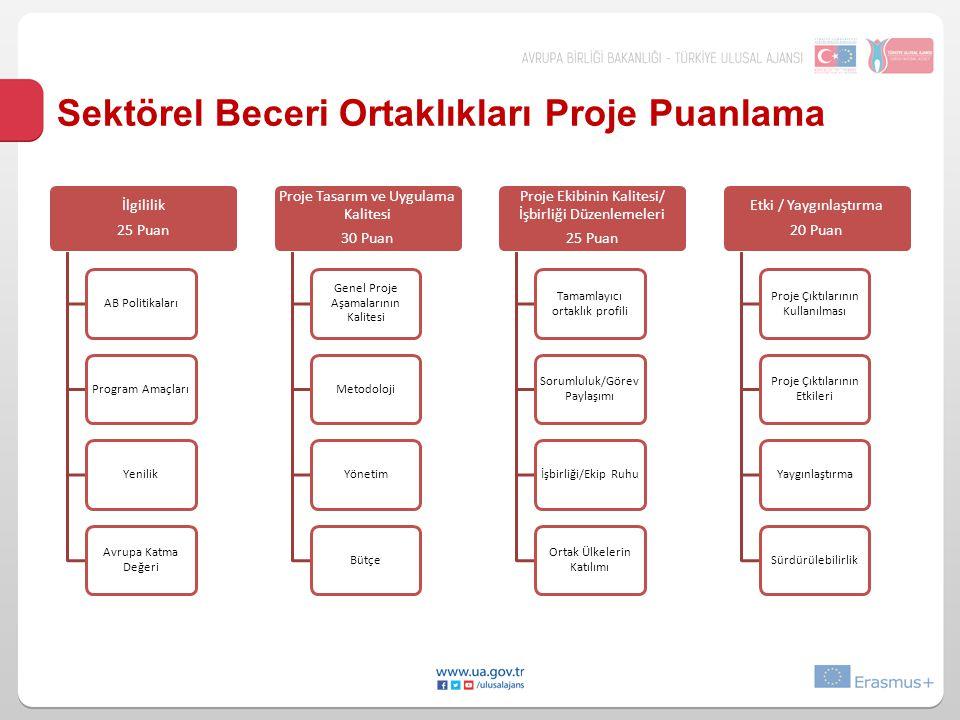 Sektörel Beceri Ortaklıkları Proje Puanlama İlgililik 25 Puan AB PolitikalarıProgram AmaçlarıYenilik Avrupa Katma Değeri Proje Tasarım ve Uygulama Kal