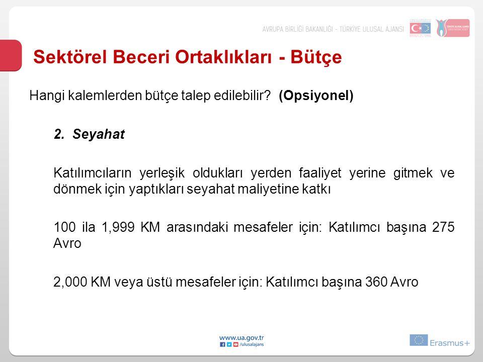 Sektörel Beceri Ortaklıkları - Bütçe Hangi kalemlerden bütçe talep edilebilir.