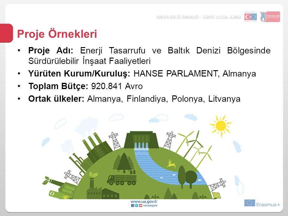 Proje Örnekleri •Proje Adı: Enerji Tasarrufu ve Baltık Denizi Bölgesinde Sürdürülebilir İnşaat Faaliyetleri •Yürüten Kurum/Kuruluş: HANSE PARLAMENT, A