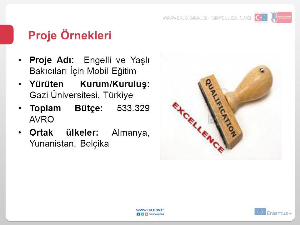 Proje Örnekleri •Proje Adı: Engelli ve Yaşlı Bakıcıları İçin Mobil Eğitim •Yürüten Kurum/Kuruluş: Gazi Üniversitesi, Türkiye •Toplam Bütçe: 533.329 AV