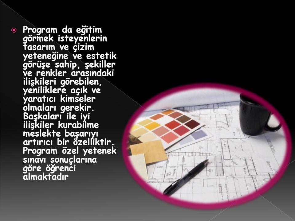  Program da eğitim görmek isteyenlerin tasarım ve çizim yeteneğine ve estetik görüşe sahip, şekiller ve renkler arasındaki ilişkileri görebilen, yeni