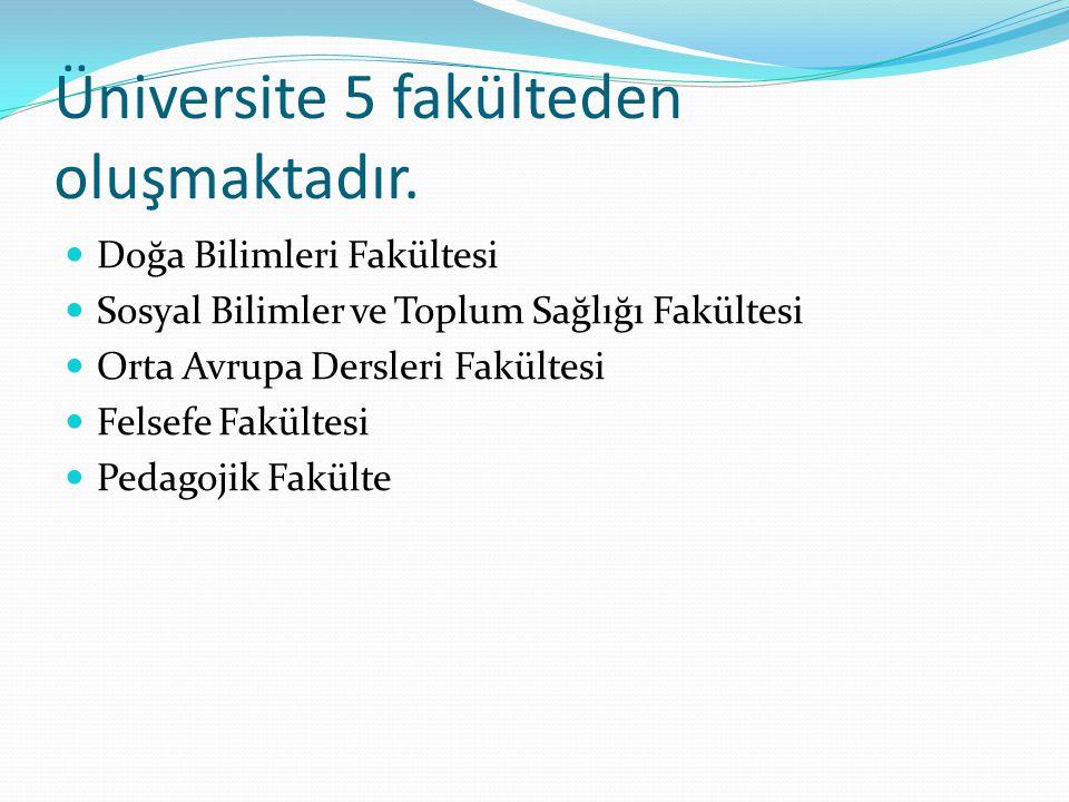 Üniversite 5 fakülteden oluşmaktadır.  Doğa Bilimleri Fakültesi  Sosyal Bilimler ve Toplum Sağlığı Fakültesi  Orta Avrupa Dersleri Fakültesi  Fels
