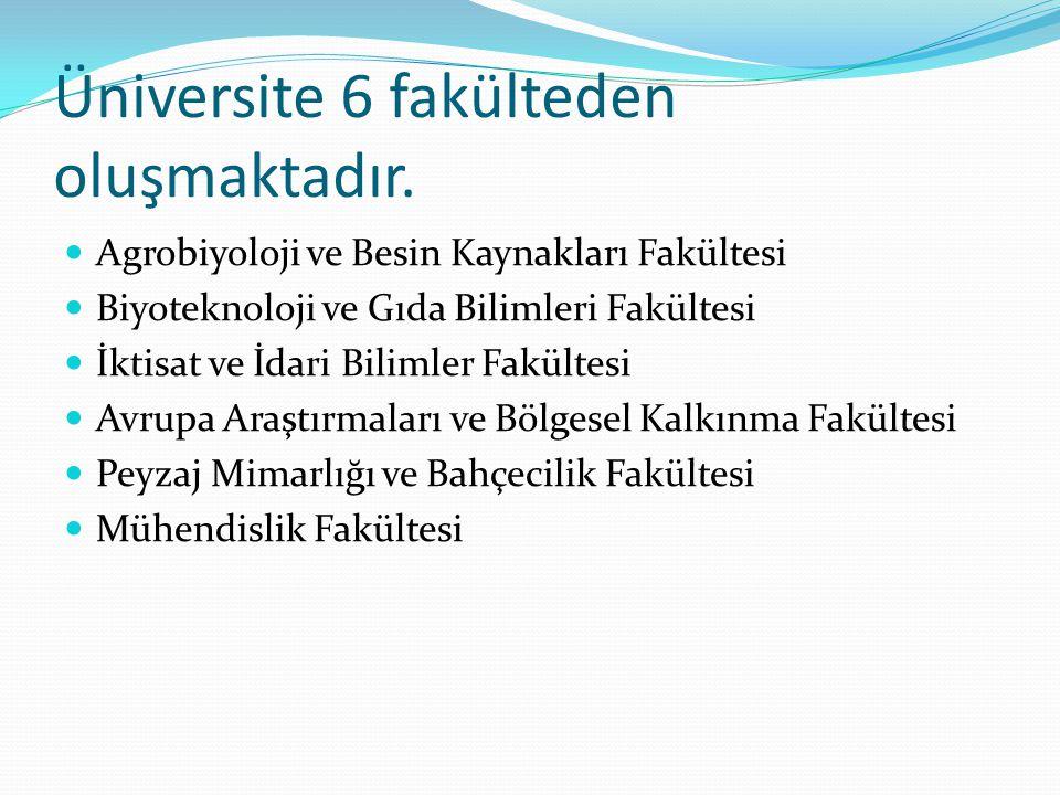 Üniversite 6 fakülteden oluşmaktadır.  Agrobiyoloji ve Besin Kaynakları Fakültesi  Biyoteknoloji ve Gıda Bilimleri Fakültesi  İktisat ve İdari Bili