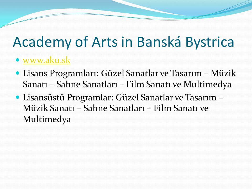 Academy of Arts in Banská Bystrica  www.aku.sk www.aku.sk  Lisans Programları: Güzel Sanatlar ve Tasarım – Müzik Sanatı – Sahne Sanatları – Film Sanatı ve Multimedya  Lisansüstü Programlar: Güzel Sanatlar ve Tasarım – Müzik Sanatı – Sahne Sanatları – Film Sanatı ve Multimedya