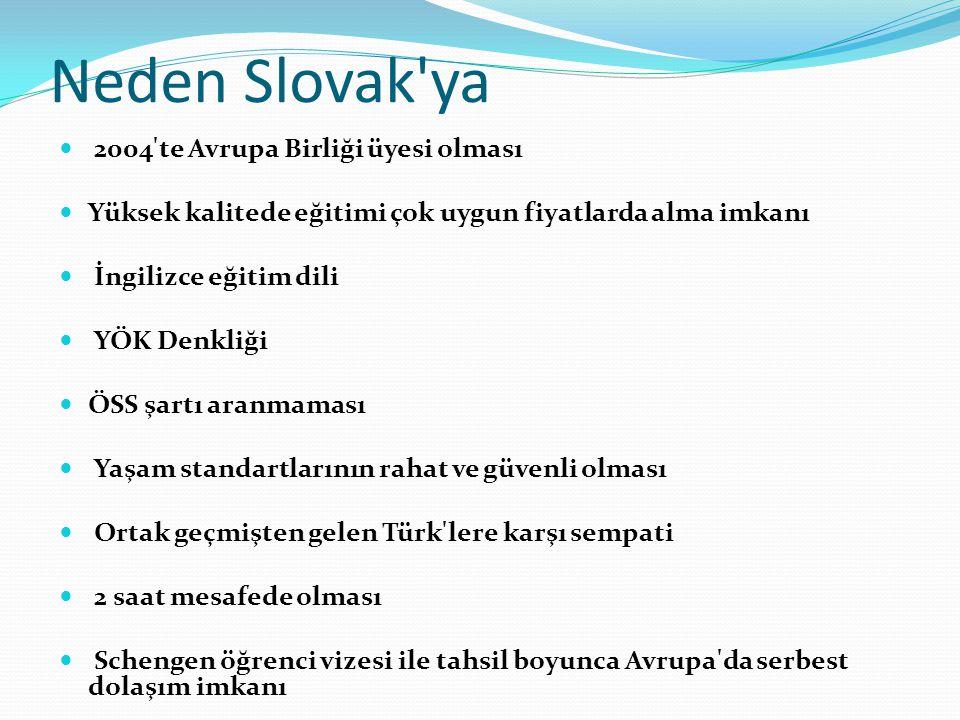 Neden Slovak'ya  2004'te Avrupa Birliği üyesi olması  Yüksek kalitede eğitimi çok uygun fiyatlarda alma imkanı  İngilizce eğitim dili  YÖK Denkliğ
