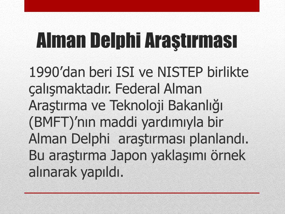 Alman Delphi Araştırması 1990'dan beri ISI ve NISTEP birlikte çalışmaktadır. Federal Alman Araştırma ve Teknoloji Bakanlığı (BMFT)'nın maddi yardımıyl