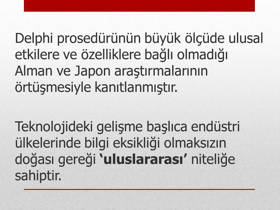 Delphi prosedürünün büyük ölçüde ulusal etkilere ve özelliklere bağlı olmadığı Alman ve Japon araştırmalarının örtüşmesiyle kanıtlanmıştır. Teknolojid