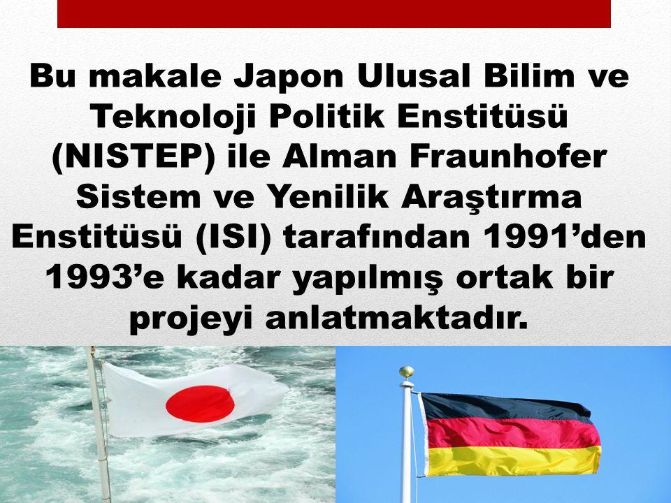 Bu makale Japon Ulusal Bilim ve Teknoloji Politik Enstitüsü (NISTEP) ile Alman Fraunhofer Sistem ve Yenilik Araştırma Enstitüsü (ISI) tarafından 1991'