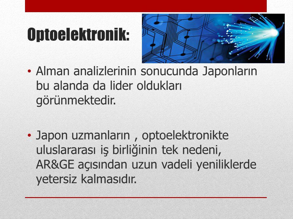 Optoelektronik: • Alman analizlerinin sonucunda Japonların bu alanda da lider oldukları görünmektedir. • Japon uzmanların, optoelektronikte uluslarara