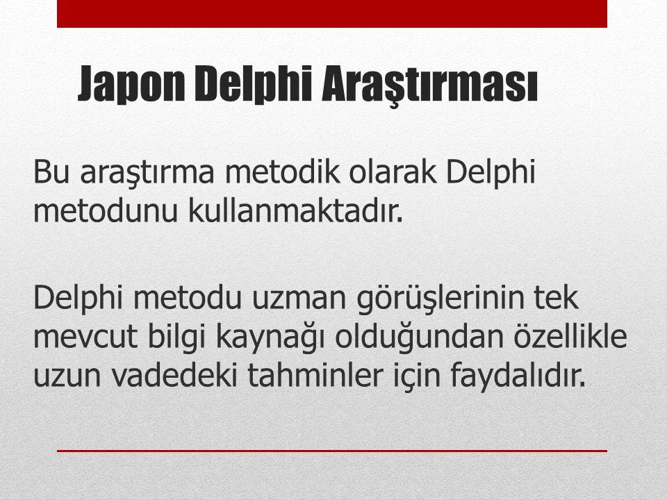 Bu araştırma metodik olarak Delphi metodunu kullanmaktadır. Delphi metodu uzman görüşlerinin tek mevcut bilgi kaynağı olduğundan özellikle uzun vadede