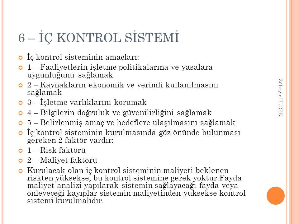 6 – İÇ KONTROL SİSTEMİ İç kontrol sisteminin amaçları: 1 – Faaliyetlerin işletme politikalarına ve yasalara uygunluğunu sağlamak 2 – Kaynakların ekono