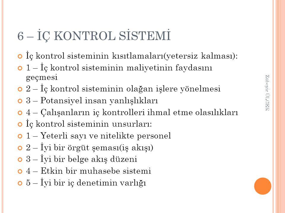 6 – İÇ KONTROL SİSTEMİ İç kontrol sisteminin kısıtlamaları(yetersiz kalması): 1 – İç kontrol sisteminin maliyetinin faydasını geçmesi 2 – İç kontrol s