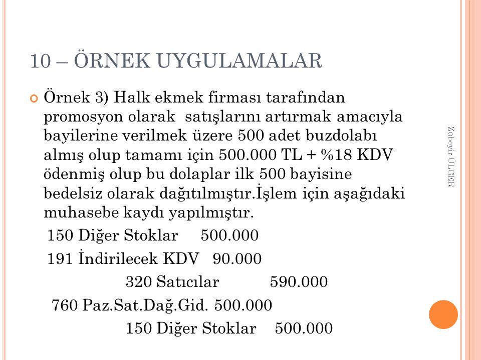 10 – ÖRNEK UYGULAMALAR Örnek 3) Halk ekmek firması tarafından promosyon olarak satışlarını artırmak amacıyla bayilerine verilmek üzere 500 adet buzdol