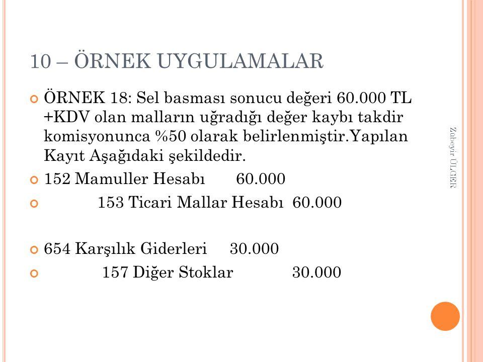 10 – ÖRNEK UYGULAMALAR ÖRNEK 18: Sel basması sonucu değeri 60.000 TL +KDV olan malların uğradığı değer kaybı takdir komisyonunca %50 olarak belirlenmi