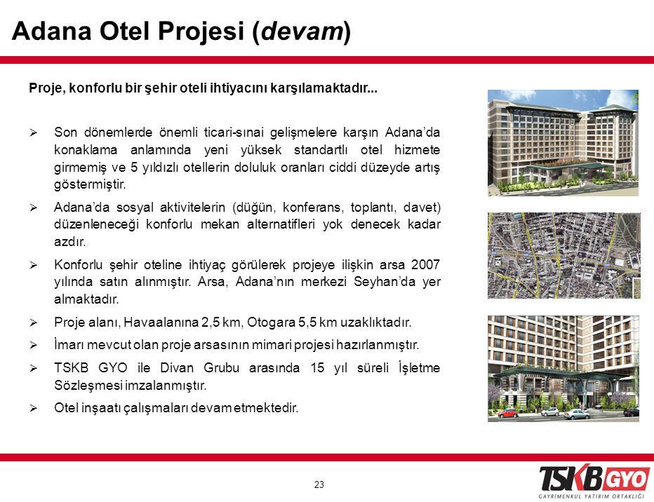 23 Proje, konforlu bir şehir oteli ihtiyacını karşılamaktadır...  Son dönemlerde önemli ticari-sınai gelişmelere karşın Adana'da konaklama anlamında