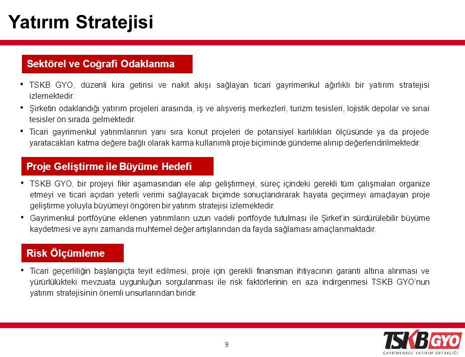 9 9 Yatırım Stratejisi • TSKB GYO, düzenli kira getirisi ve nakit akışı sağlayan ticari gayrimenkul ağırlıklı bir yatırım stratejisi izlemektedir. • Ş