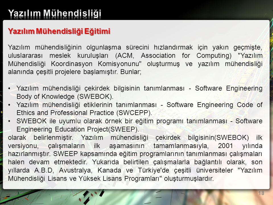 Yazılım Mühendisliği Eğitimi Yazılım mühendisliğinin olgunlaşma sürecini hızlandırmak için yakın geçmişte, uluslararası meslek kuruluşları (ACM, Assoc