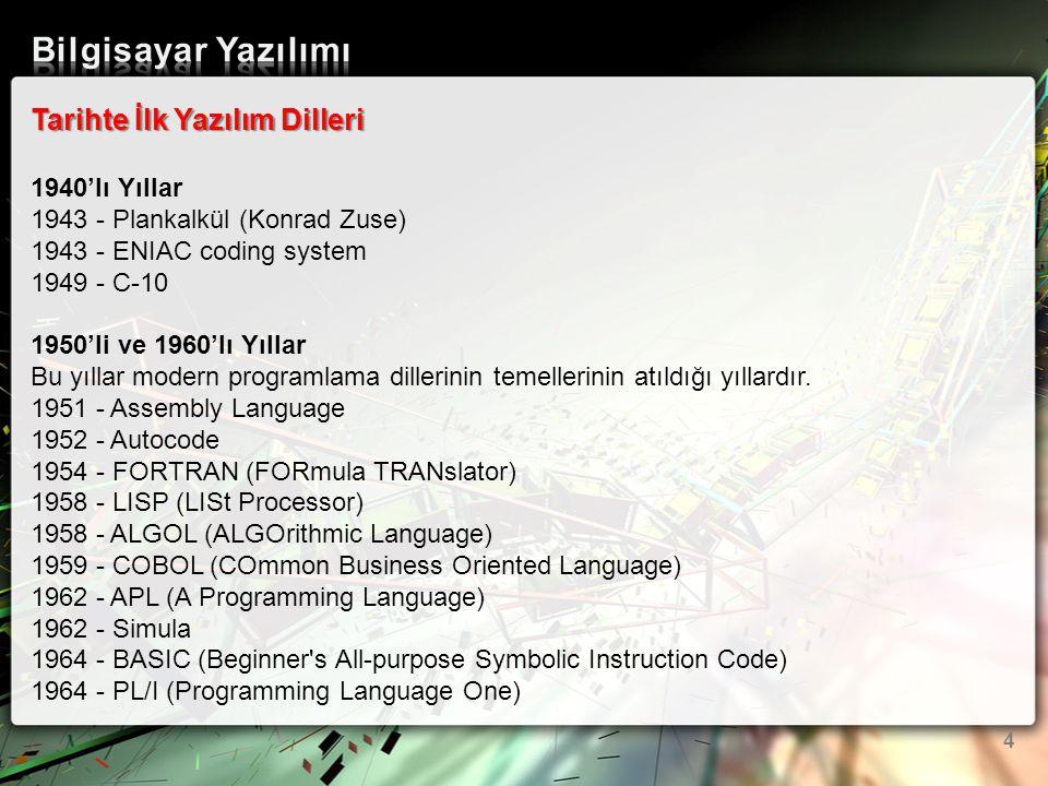 Tarihte İlk Yazılım Dilleri 1940'lı Yıllar 1943 - Plankalkül (Konrad Zuse) 1943 - ENIAC coding system 1949 - C-10 1950'li ve 1960'lı Yıllar Bu yıllar