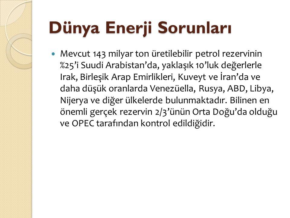 Dünya Enerji Sorunları  Mevcut 143 milyar ton üretilebilir petrol rezervinin %25'i Suudi Arabistan'da, yaklaşık 10'luk değerlerle Irak, Birleşik Arap
