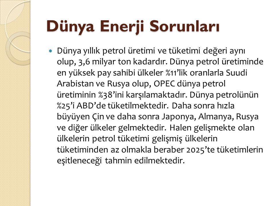 Dünya Enerji Sorunları  Dünya yıllık petrol üretimi ve tüketimi değeri aynı olup, 3,6 milyar ton kadardır. Dünya petrol üretiminde en yüksek pay sahi