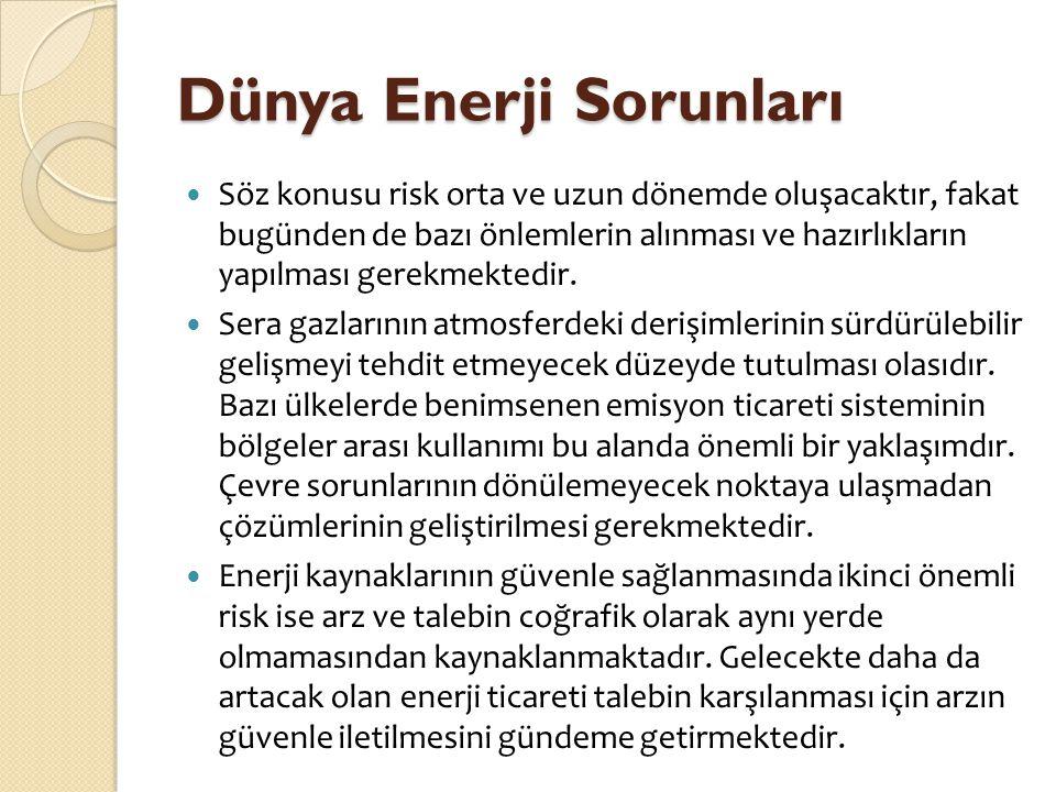 Dünya Enerji Sorunları  Söz konusu risk orta ve uzun dönemde oluşacaktır, fakat bugünden de bazı önlemlerin alınması ve hazırlıkların yapılması gerek