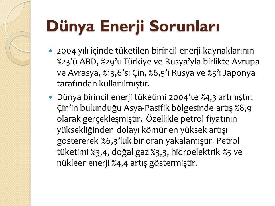 Dünya Enerji Sorunları  2004 yılı içinde tüketilen birincil enerji kaynaklarının %23'ü ABD, %29'u Türkiye ve Rusya'yla birlikte Avrupa ve Avrasya, %1